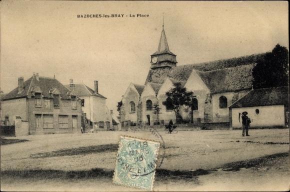 Ak Bazoches Seine et Marne, La Place 0