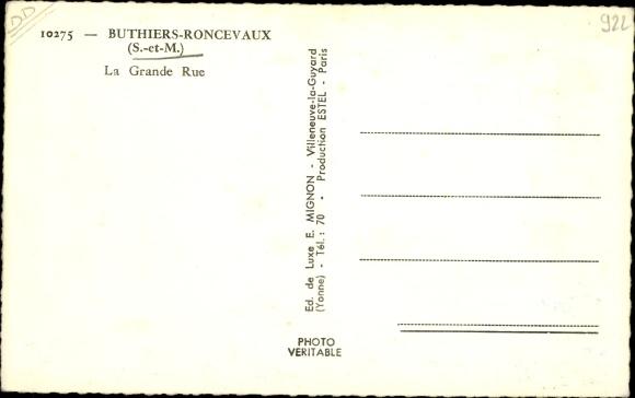 Ak Buthiers Roncevaux Seine-et-Marne, La Grande Rue 1
