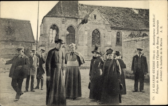 Ak Barcy Seine-et-Marne, Visite de l´Église par Monseigneur Marbau 0