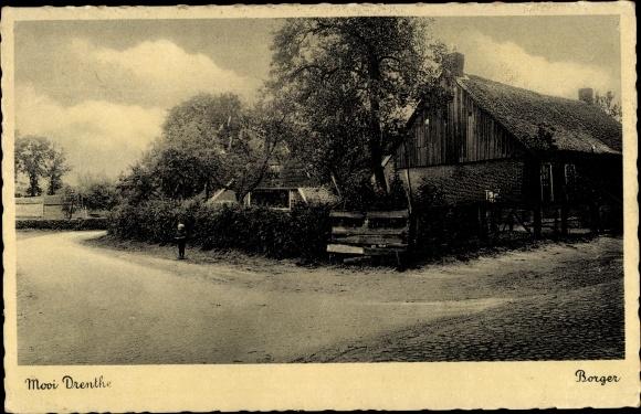 Ak Borger Odoorn Drenthe Niederlande, Straßenpartie, Haus 0