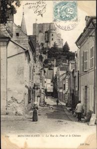Ak Montrichard Loir-et-Cher, Rue du Pont et le Château