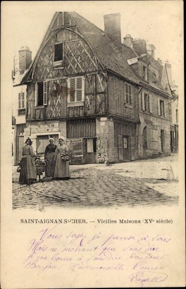 Ak Saint Aignan Loir et Cher, Vieilles Maisons 0