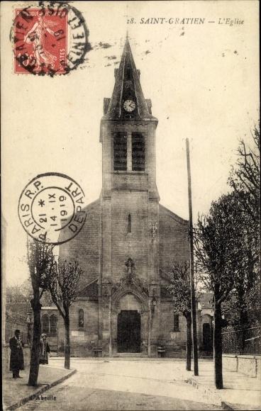Ak Saint Gratien Val d'Oise, Église 0