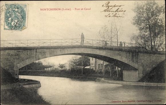 Ak Montcresson Loiret, Pont et Canal 0