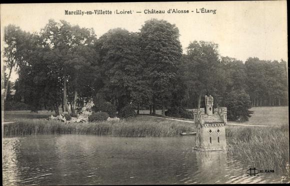 Ak Marcilly-en-Villette Loiret, Chateau d´Alosse, L´Etang 0