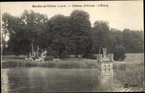 Ak Marcilly-en-Villette Loiret, Chateau d´Alosse, L´Etang