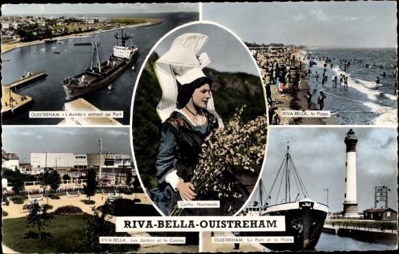 Ak Riva Bella Ouistreham Calvados, Montage, Plage, Phare, Port 0