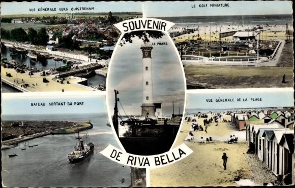 Ak Riva Bella Ouistreham Calvados, Montage, Plage, Phare, Port, Minigolf 0