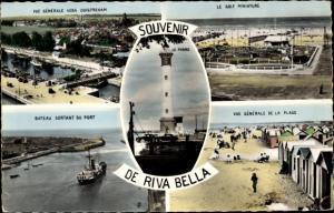 Ak Riva Bella Ouistreham Calvados, Montage, Plage, Phare, Port, Minigolf