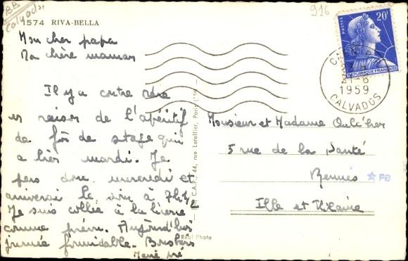 Ak Riva Bella Ouistreham Calvados, Montage, Plage, Phare, Port, Minigolf 1