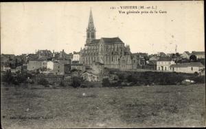Ak Vihiers Maine et Loire, Vue generale prise de la Gare