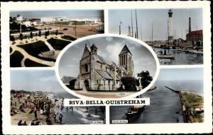 Ak Riva Bella Calvados, Le Miniagolf, Église, Phare