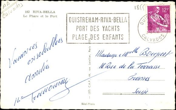 Ak Riva Bella Calvados, Le Phare et le Port, Bateau Alcée Caen 1
