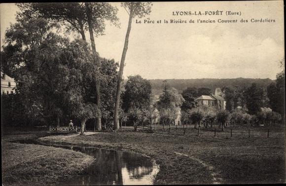 Ak Lyons la Forêt Eure, Ancien Couvent des Cordeliers, Parc et Rivière 0