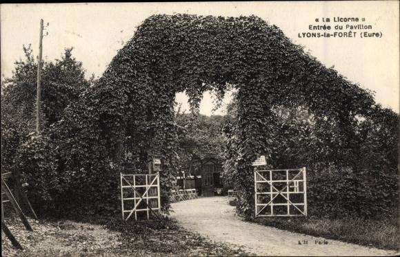 Ak Lyons la Forêt Eure, La Licorne, Entrée du Pavillon 0