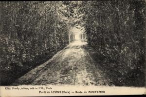 Ak Lyons la Forêt Eure, Route de Mortemer