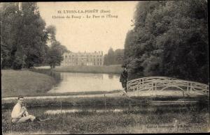 Ak Lyons la Forêt Eure, Parc et l´Étang, Château de Rosay