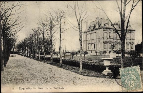 Ak Ecquevilly Yvelines, Vue de la Terrasse 0