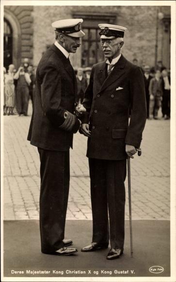 Ak König Christian X von Dänemark, Gustav V von Schweden, Portrait 0