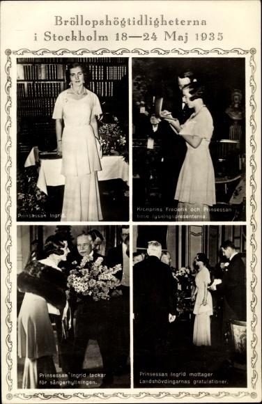 Ak Hochzeit 1935, Ingrid von Schweden, Frederik IX von Dänemark 0