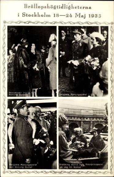 Ak Hochzeit 1935, Ingrid von Schweden, Frederik IX von Dänemark, Gustav V, belgisches Königspaar 0