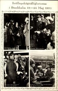 Ak Hochzeit 1935, Ingrid von Schweden, Frederik IX von Dänemark, Gustav V, belgisches Königspaar