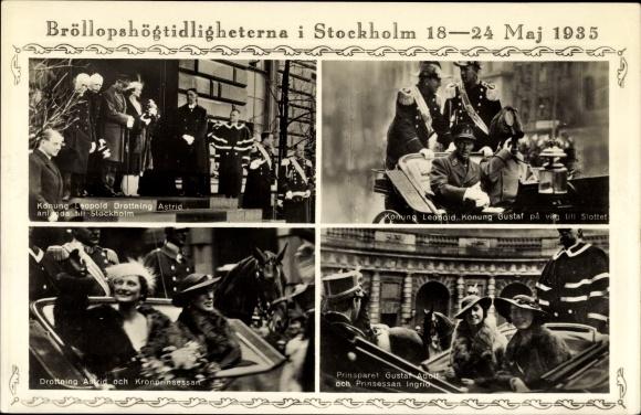 Ak Hochzeit Frederik von Dänemark, Ingrid von Schweden, König Gustaf Adolf 0