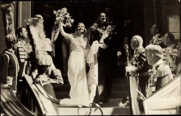 Ak Kronprinz Frederik von Dänemark, Ingrid von Schweden, Hochzeit 0