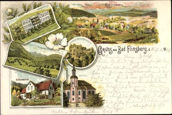 Litho Świeradów Zdrój Bad Flinsberg Schlesien, Panorama, Silberblick, Ev. Kirche, Leopoldsbad 0