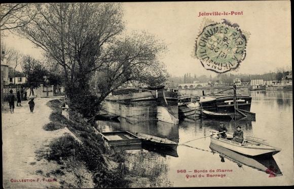 Ak Joinville le Pont Val de Marne, Bords de Marne, Quai du Barrage 0