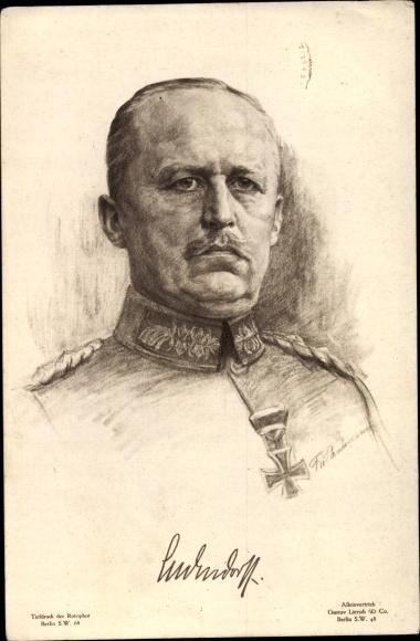 Künstler Ak General Erich Friedrich Wilhelm von Ludendorff, Portrait 0