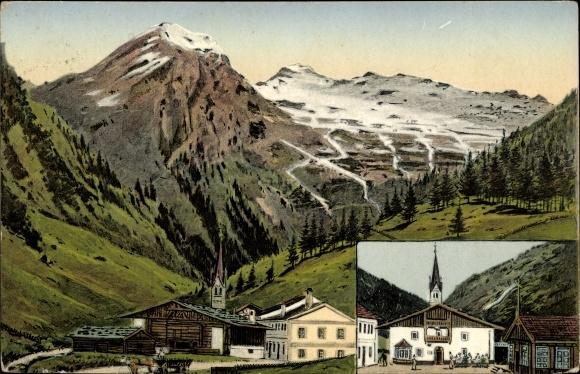 Ak Venn am Brenner Tirol Österreich, Gasthof Strickner, Kirche, Berg 0