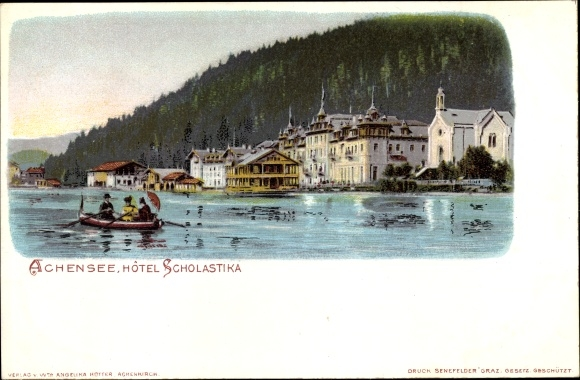 Passepartout Litho Scholastika Achenkirch in Tirol, Hôtel Scholastika vom Achensee 0