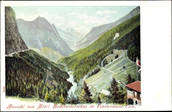 Litho Finstermünz Nauders in Tirol, Hôtel Hochfinstermünz, Passblick 0