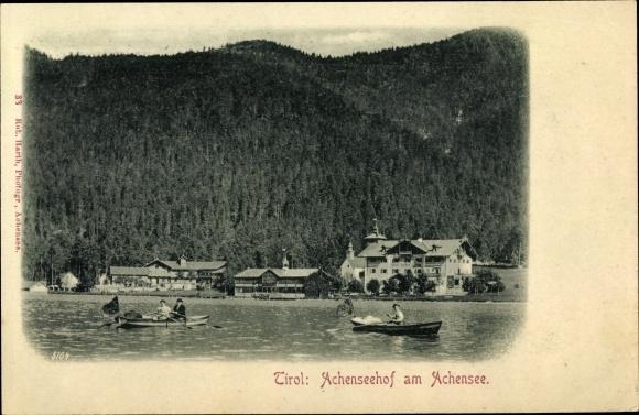 Ak Achenseehof am Achensee in Tirol, Urlauber in Ruderbooten, Nadelwald 0