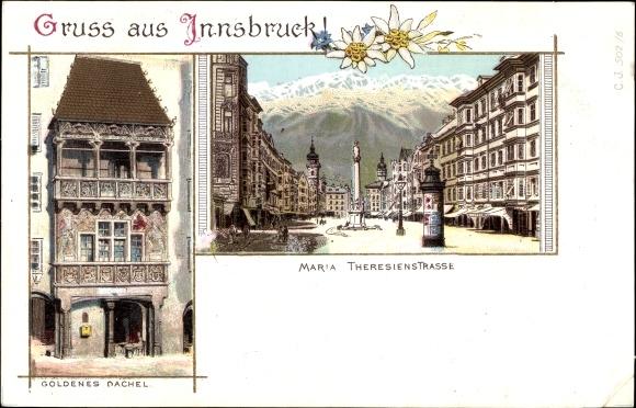 Litho Innsbruck in Tirol, Goldenes Dachel, Maria Theresienstraße, Edelweiß 0