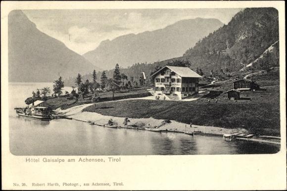 Ak Hôtel Gaisalpe am Achensee in Tirol, Panorama vom Ort, Salondampfer an Anlegestelle 0