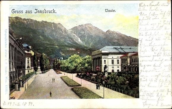 Künstler Ak Innsbruck in Tirol, am Theater, Bergkamm 0
