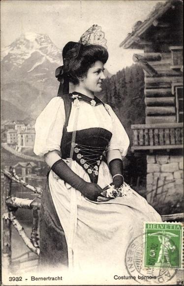 Ak Bern Stadt Schweiz, Berner Tracht, Femme en Costume Bernois 0