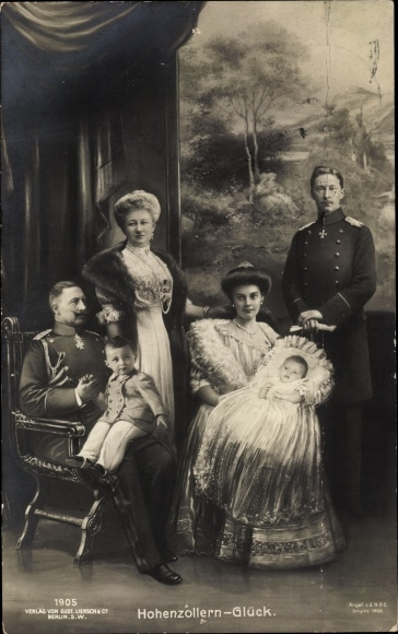 Ak Hohenzollern Glück, Kaiserin Auguste Viktoria, Kaiser Wilhelm II. Kronprinz Wilhelm von Preußen 0