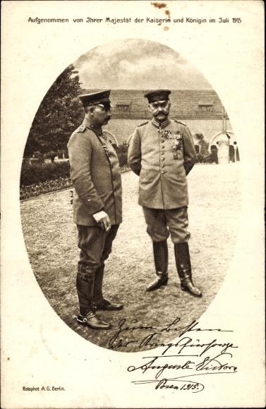 Ak Poznań Posen, Kaiser Wilhelm II. mit Generalfeldmarschall Paul von Hindenburg, Juli 1915 0