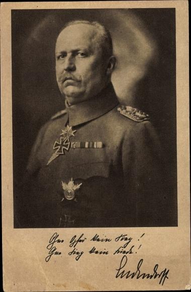 Ak Deutscher General Erich Friedrich Wilhelm Ludendorff 0