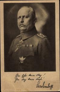 Ak Deutscher General Erich Friedrich Wilhelm Ludendorff