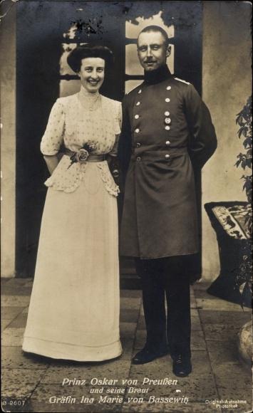 Ak Prinz Oskar von Preußen und seine Braut Gräfin Ina Marie von Bassewitz 0