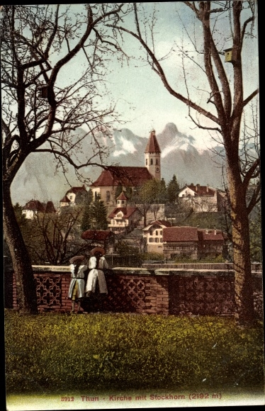 Ak Thun Kanton Bern Schweiz, Kirche, Stockhorn 0