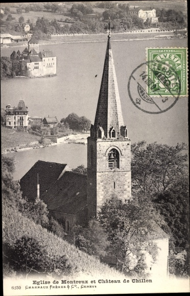Ak Chillon Lac Léman Kt Waadt Schweiz, Eglise de Montreux, Chateau 0