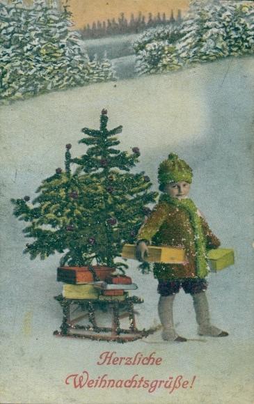 Glitzer Ak Frohe Weihnachten, Kind mit Schlitten und Tannenbaum 0