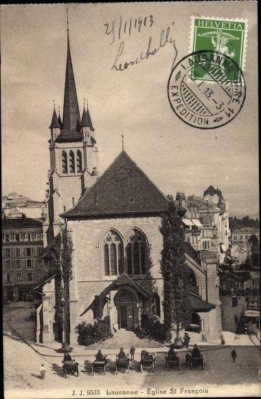 Ak Lausanne Kanton Waadt, Eglise St Francois 0