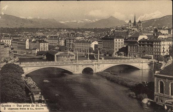 Ak Genève Genf Stadt, Vue prise de St. Jean 0