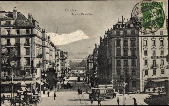 Ak Genève Genf Stadt, Rue du Mont-Blanc, Tram 0